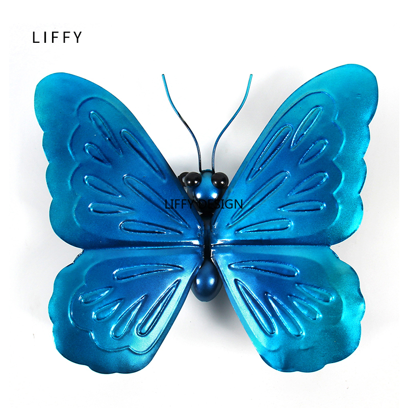 Liffy Miniature Metal  Butterfly Wall Decor Outdoor  for Garden Decoration Animals Jardin Ornaments Yard Decoraitions Statues-in Garden Statues & Sculptures from Home & Garden