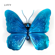 Liffy Miniature Metal  Butterfly Wall Decor Outdoor for Garden Decoration Animals Jardin Ornaments Yard Decoraitions Statues