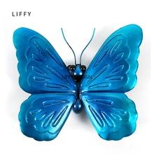 Liffy hediye mavi Metal kelebek duvar dekorasyonu bahçe dekorasyon hayvanlar açık süsler avlu heykelleri