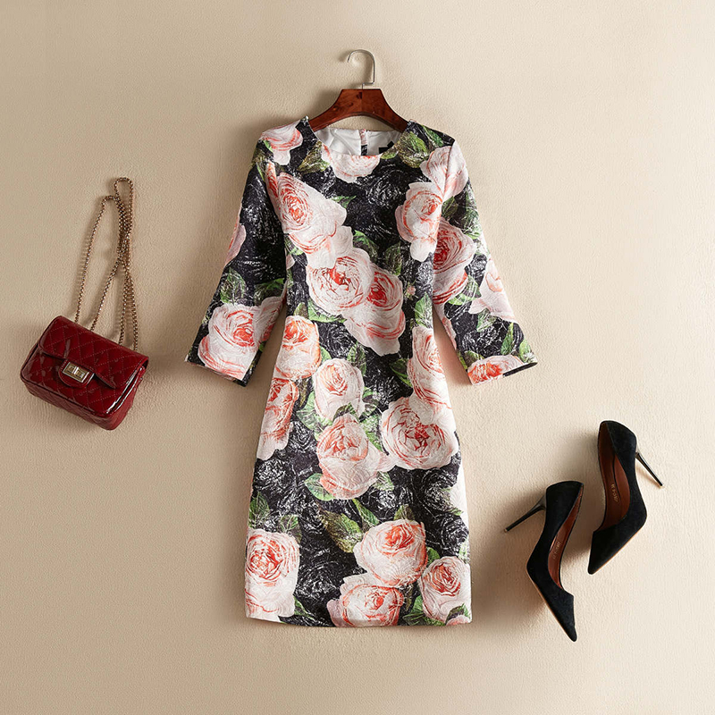 2019 Autumn Pretty Floral Print Dress High Quality Fashion Hot O neck Above Knee Mini Female