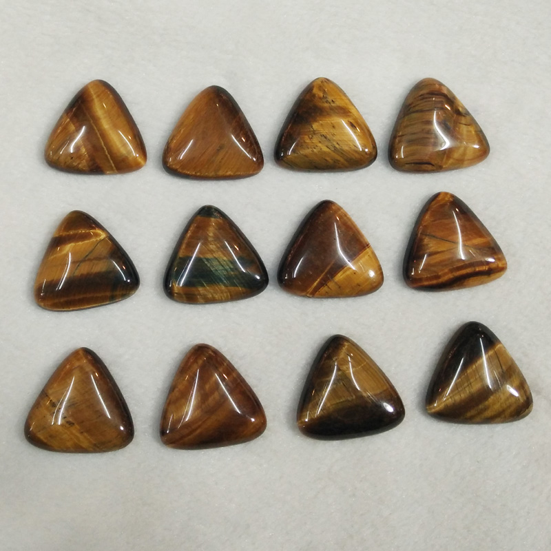 2016 fashion natural tiger eye stone triangle cab cabochon beads for jewelry Accessories 25mm wholesale 12pcs/lot free shipping