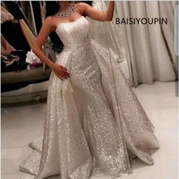 2019 Sparkly Sequined Dresses long arabic evening formal dresses mermaid prom dresses