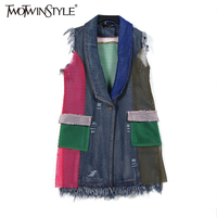TWOTWINSTYLE 2017 Summer Women Patchwork Grid Mesh Denim Vest Coat Sleeveless Ripped Tassel Jeans Jackets Cardigan