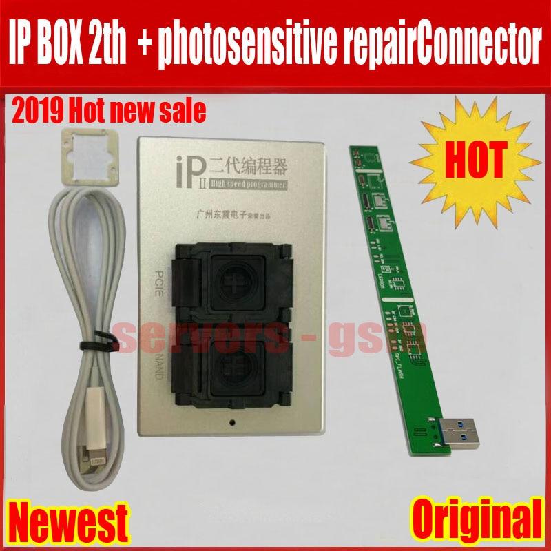2019 nuevo IPBox V2 caja IP 2th NAND PCIE 2in1 de alta velocidad programador fotosensible repairConnector + para iP7 Plus /7/6 S/6plu/5S/5C/5