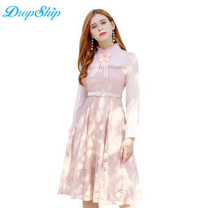 4244bce66e Dropship Streetwear Office Lady Stand Collar Puff Long Sleeve Lace Dress  Autumn Women Hollow Out Beading Lace Up Elegant Dresses