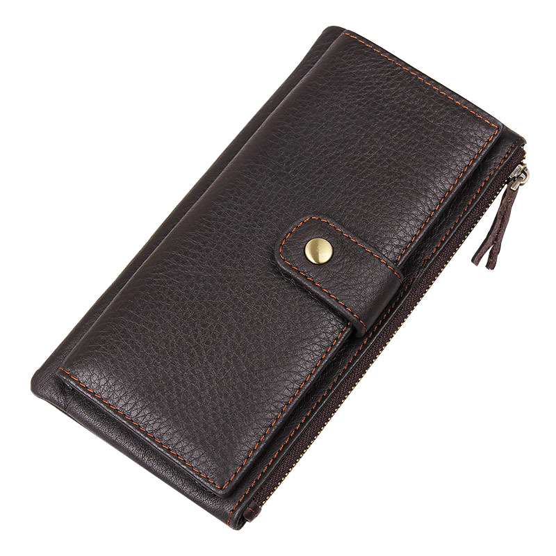 Litchi Pattern Genuine Leather Wallets for Men Card Holder Purse Hasp And Zipper Design Men's Wallet With Photo Slot Purses casual weaving design card holder handbag hasp wallet for women
