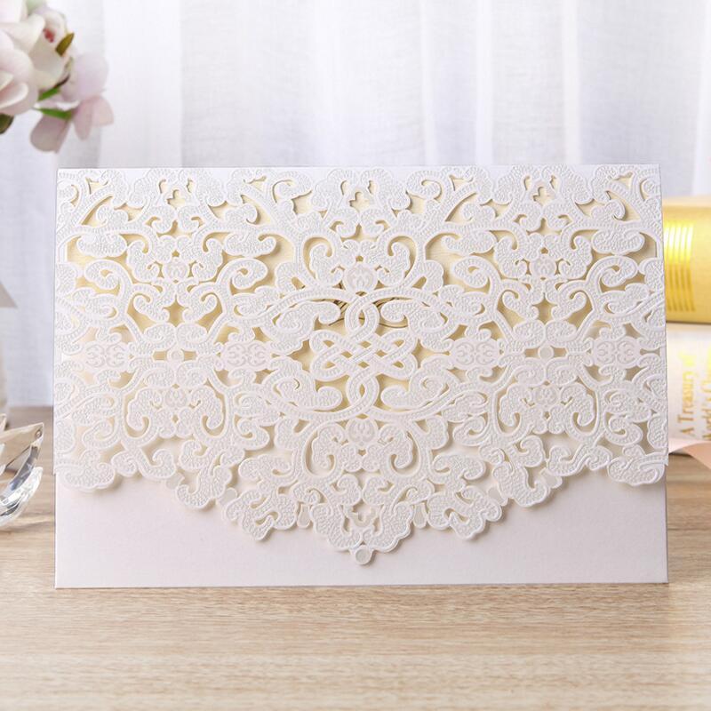 50pcs/lot Laser Cut White Red Elegant Wedding Invitations
