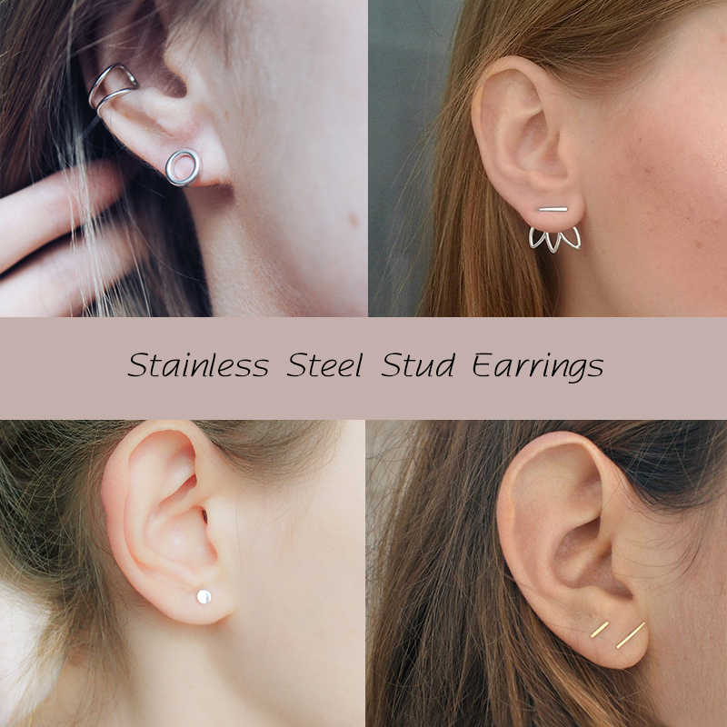 CC Stainless Steel Stud Earrings for women Office Small Triangle Cross Square Earring Fashion Jewelry Career style Minimalist