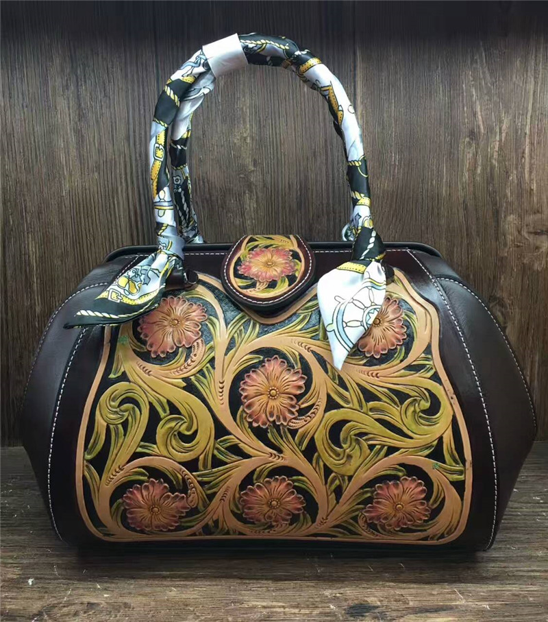 hand carved Italian vegetable tanned chinese vintage genuine leather bags for women hand carved italian vegetable tanned cowhide fashion leather bags handbags women