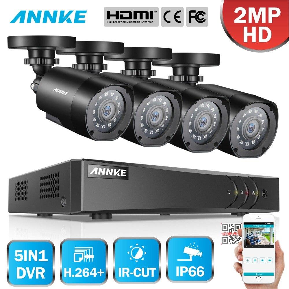 ANNKE 8CH HD 2MP 1080 P 5 в 1 DVR комплекты камеры скрытого видеонаблюдения HD система видеонаблюдения TVI система безопасности DVR комплект Открытый Всепо...