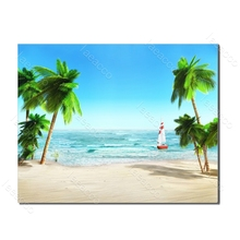 Laeacco Sea Beach Palm Tree Boat Tropical Posters and Prints Nordic Painting in Canvas Wall Art Living Room Bedroom Home Decor