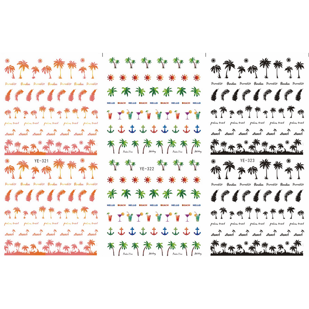 3 упак./лот переводная наклейка для ногтевого дизайна, наклейка для ногтей, пальмовое дерево, якорное перо, YE321-323