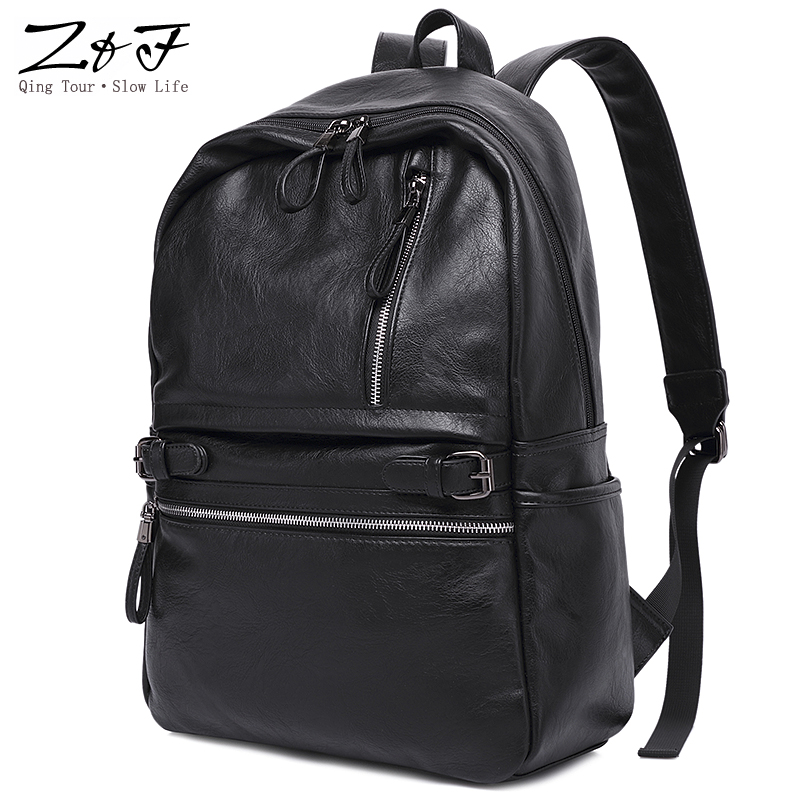 ZEROFRONT Fashion Brand Men's Business Backpacks Leather teenager School bag 15.6inch Casual Laptop Travel shoulder bags mochila new gravity falls backpack casual backpacks teenagers school bag men women s student school bags travel shoulder bag laptop bags