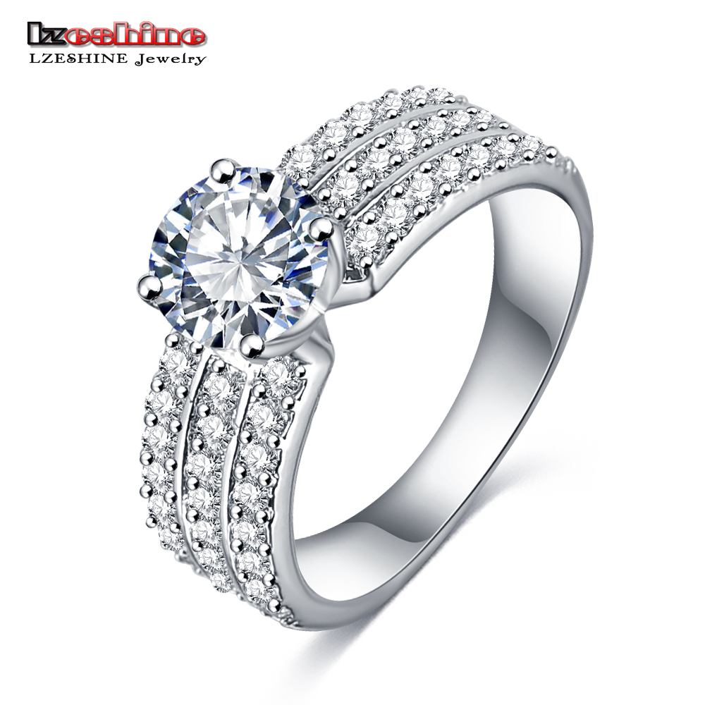 LZESHINE 2018 Wholesale New Promotion Trendy Silver Color AAA  Zircon Women Jewelry Gift Rings Free Shipping Anillos CRI0012