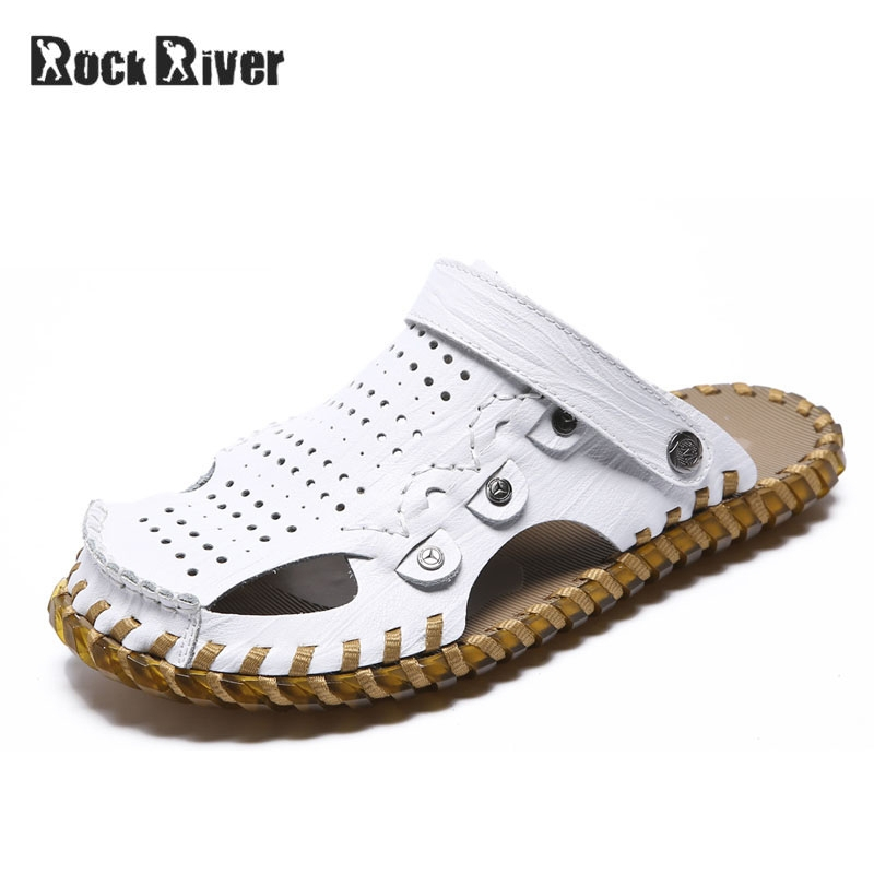 Genuine Leather Sandals Men 2018 Slip-on Slippers Men Casual Mens Sandals Summer Breathable Slippers Outdoor Beach Sandals