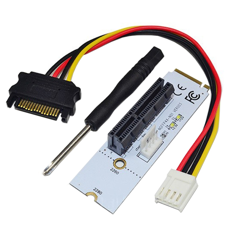 Ngff M.2 Key M To Pci-e 1x 4x 16x Graphics Card Mining Slot Adapter Riser Converter Card With Led 8x