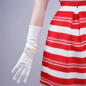 Image 4 - Silk Satin Gloves 58cm Elasticity Mercerized Satin Black White Extra Long Style Over Elbow Female Sunscreen Bride Married WSG05