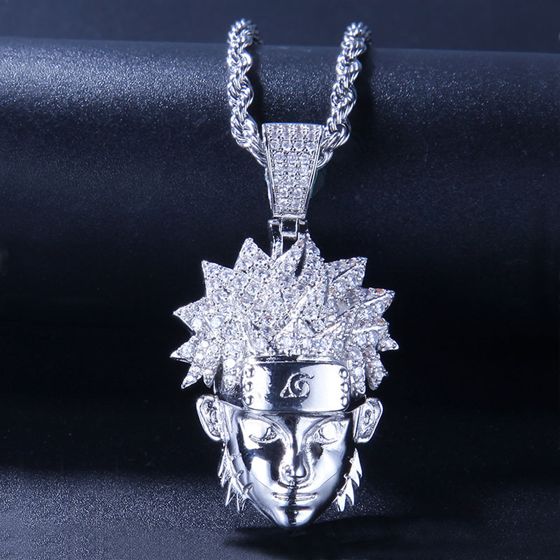 Cartoon Characters Pendant Necklace 2 Colors Fashion Hip Hop Jewelry Cubic Zirconia Mens Necklace With Chain