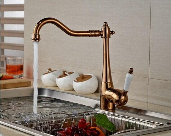 где купить Single Handle rose gold Polished Swivel Deck Mounted Single Hole kitchen sink Faucets,Mixers & Taps Cozinha Torneira по лучшей цене