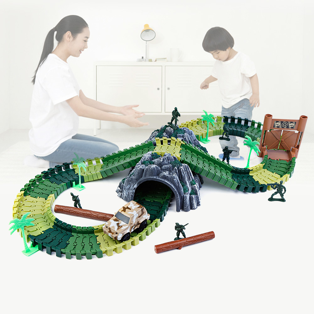 New 48/96pcs Racing Track Set Toys Roller Coaster DIY Flex Race Track Flexible Track Playset Railway Rail Cars For Kids Gifts ...