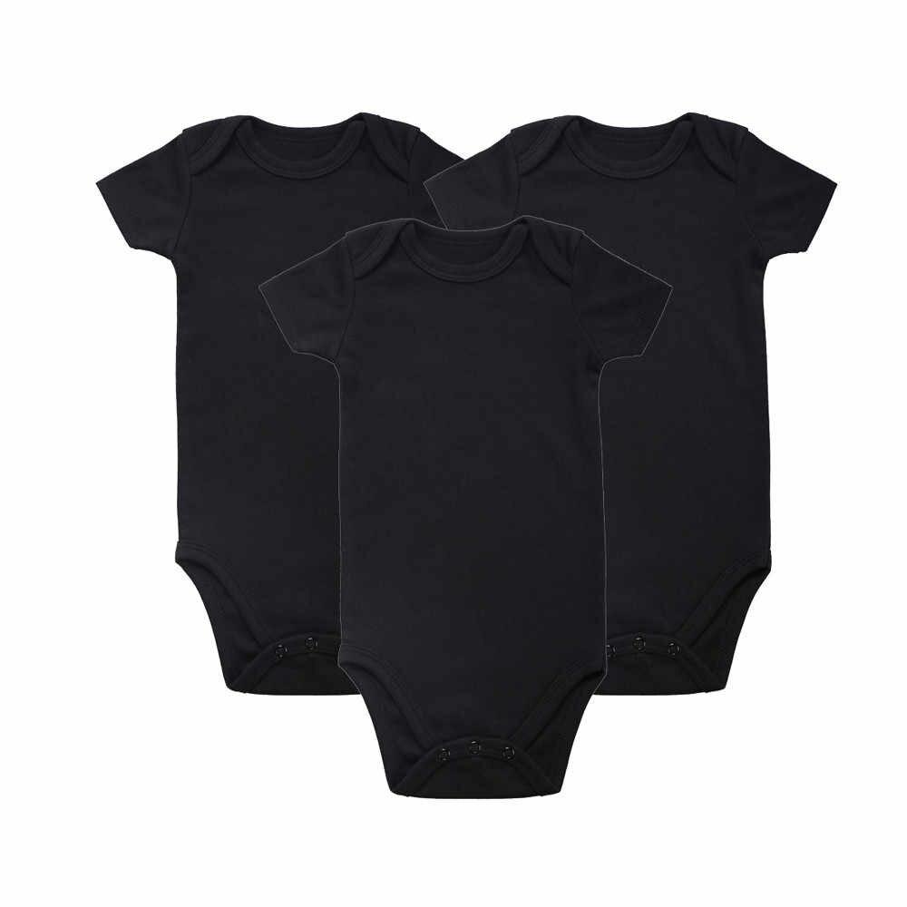 2018 брендовая одежда для новорожденных, унисекс, для малышей, 100% хлопок, 3 предмета в упаковке, однотонные черные боди с короткими рукавами, одежда для детей 0-12 месяцев
