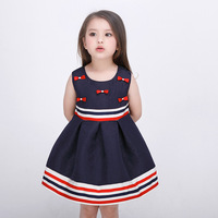 2017 New Summer 3 12Y Girls Dress Striped Bow Sleeveless Knee Length Kids Cloth Ball Gown