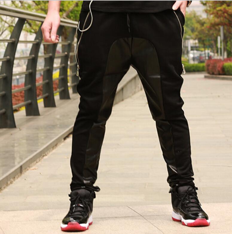 2017 44 Disfraces Plus Patchwork Nuevo Pantalones 27 Estéreo Ropa Hombres Estilista Tamaño Gd Negro Cuero Moda Hiphop Calle De E6dZnZ