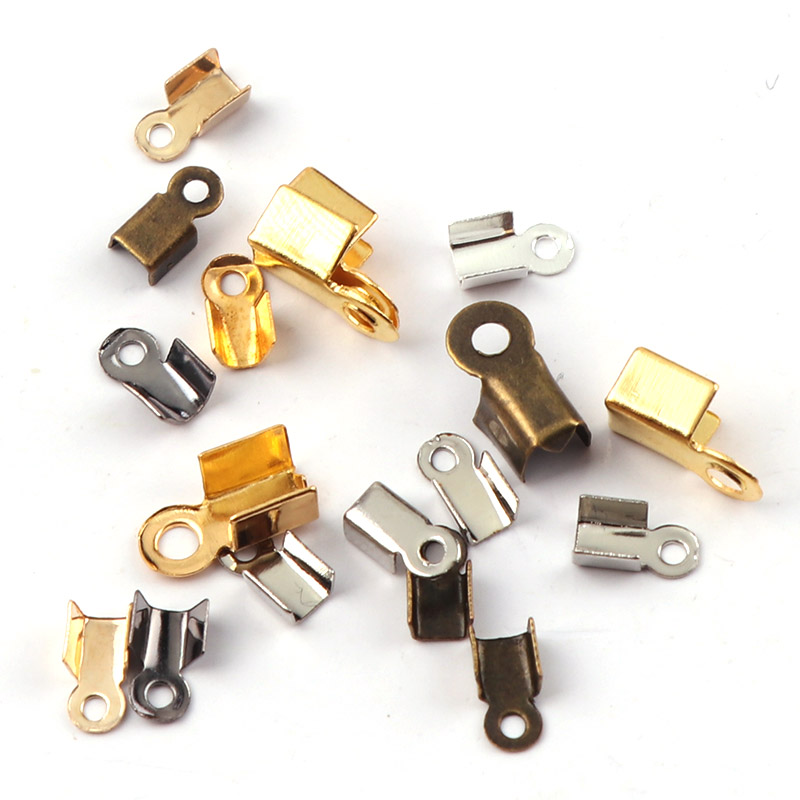 100pcs 1//2 Ribbon End Crimp Clips Cord Ends Clamps Silver Plated Fasteners Necklace Connectors Fold Over Tips Beads Caps DIY Clasps