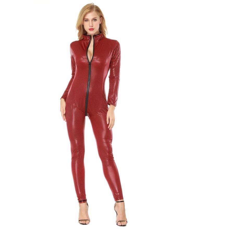 Buy Body Suits Women Seductive Lingerie Artificial Leather Open Crotch Bodysuit  Siamese Erotic Lingerie Catsuit Latex gb2