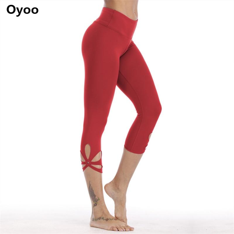 цена на Oyoo Red Workout Capris High Waist Yoga Pants Tummy Control Cutout Side Gym Pants Women Cute Jogging Femme 3/4 Sport Leggings