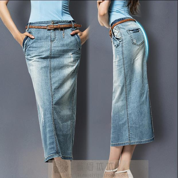 c36ef13409c Free Shipping Plus Size 3XL Washed Denim Long Skirt Women 2015 Stretch  Pencil sexy Jeans Skirt