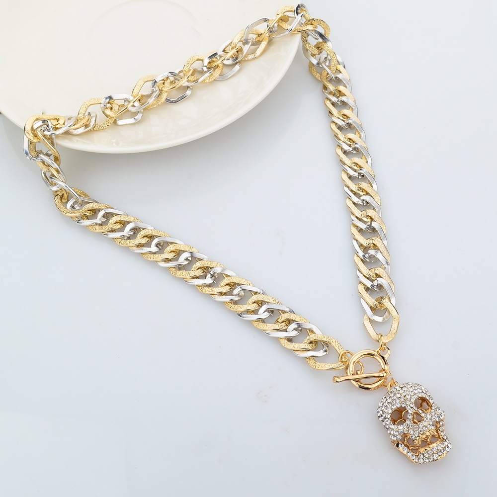2016 Vintage Long Gold Chains Skull Pendant Crystal Necklace ...