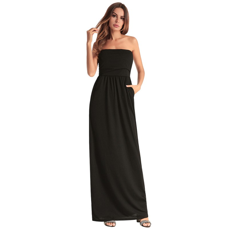 Black Red Slash Neck Maxi Dress Summer Off Shoulder Sexy Vestidos Solid Tube Party Dress