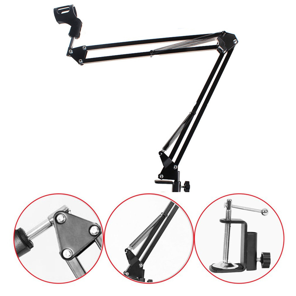 Adjustable Microphone Suspension Boom Scissor Arm Stand Compact Mic for Radio Broadcasting Studio Voice-Over Sound Studio Stages