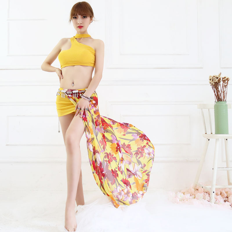 2018 Bellydance Costume Sexy Tops Chiffon Print Long Skirt Women Oriental Gypsy Clothing Belly Dance Set Indian Clothes DNV10119