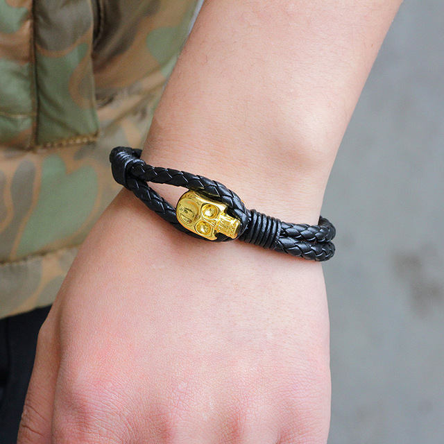 Janeyacy популярный двухслойный браслет с черепами кожаный мужской