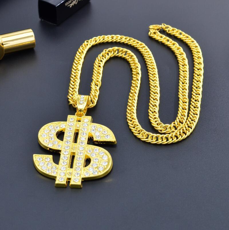 Novo hip hop nightclub exagerada corrente de ouro sinal de dólar colar de ouro masculino e feminino tendência personalidade pingente