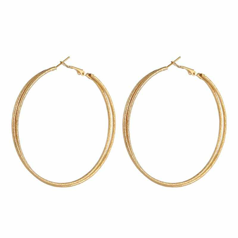 คุณภาพสูง Rose Gold สีคู่ชั้นโลหะขนาดใหญ่วงกลมรอบ Hoop ต่างหูสังกะสีโลหะผสม Loop Creolen Pircing kupe