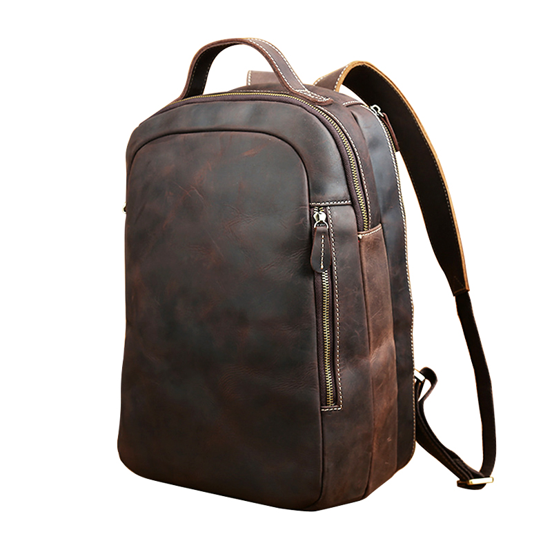 Crazy Horse Genuine First Layer Leather Men's Retro 14 Casual Stylish Backpack Travel Laptop Notebook Zipper Bag freeshipping first layer genuine leather crazy horse pen bag zipper retro portable simple pencil case with hand tail traveler school supplies