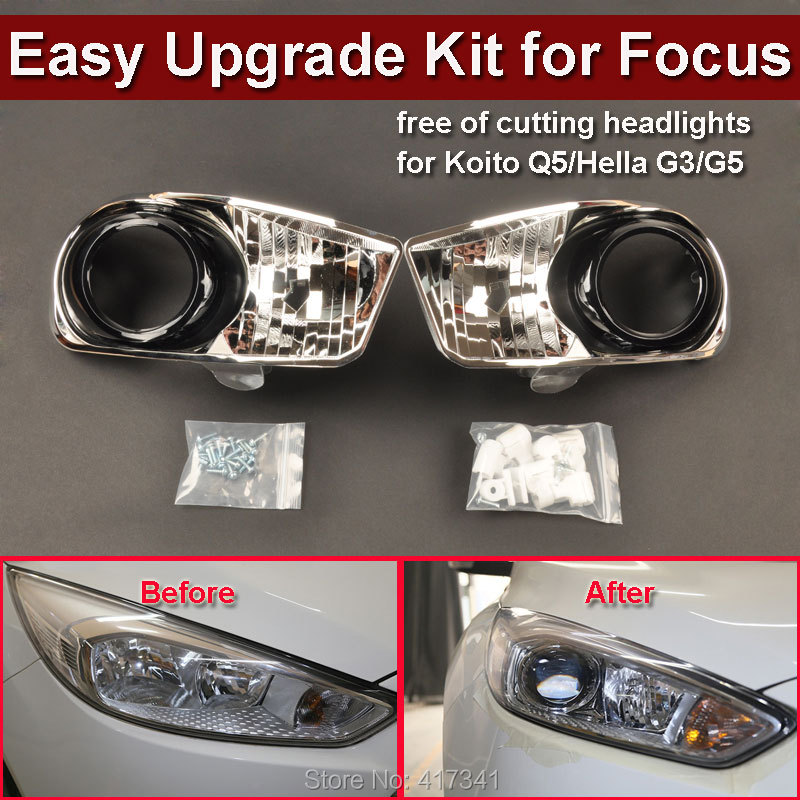 Front Headlight Kit for 15 Ford Focus Car Upgraded Low to High without Damage to Install HID Projector Lens Koito Q5 HL G3/G5 2pcs purple blue red green led demon eyes for bixenon projector lens hella5 q5 2 5inch and 3 0inch headlight angel devil demon