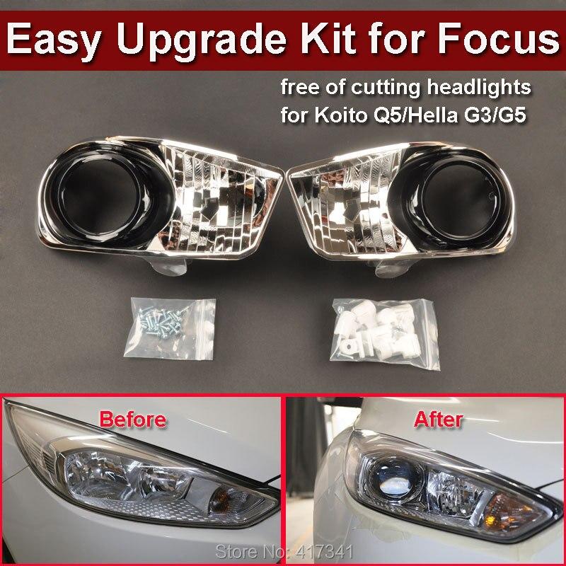 Kit de phares avant pour 15 Ford Focus Car amélioré bas à haut sans endommager pour installer la lentille de projecteur HID Koito Q5 HL G3/G5
