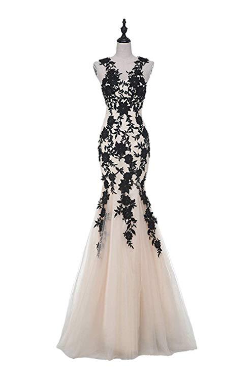 2019 Women's Tulle Appliques Prom Dress Formal Long Mermaid Evening Gown Dress Abiti Da Cerimonia Da Sera
