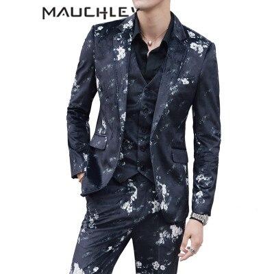 Retro trajes de boda para hombres 3 unidades traje con pantalones S 5XL  Plus tamaño Terno Masculino Slim Floral negro vestido de baile de graduación  2018 en ... 92932f5bb54