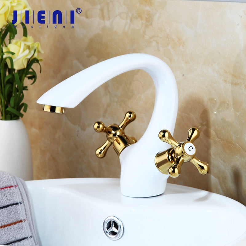 JIENI NEW Solid Brass Golden Polish 2 Handles Faucets Bathroom Basin Faucet Lavabo White Painting Tap