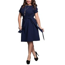 Women Dresses Summer Casual New Fashion Hot Sale O-Neck Short Sleeve Party Dresses Size Plus Size