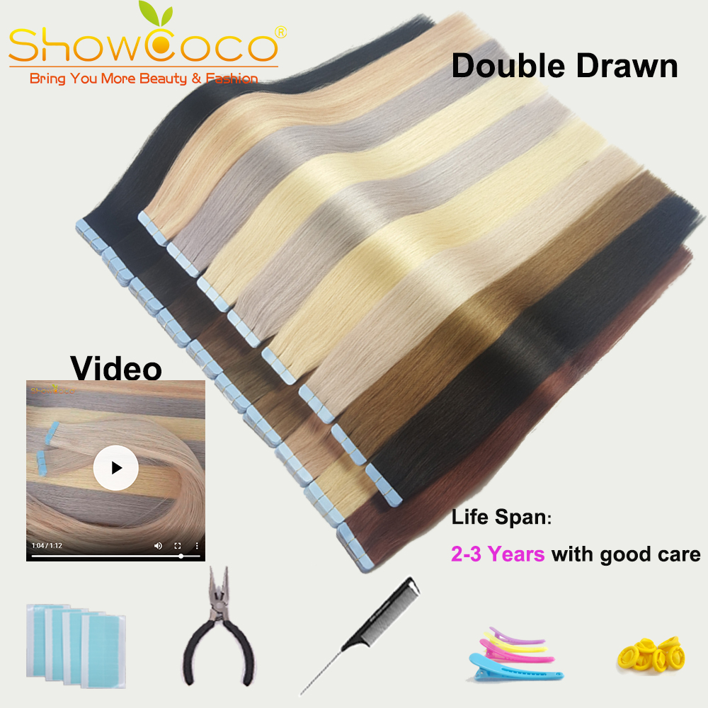 ShowCoco Tape In Human Hair Extensions Double Drawn Salon Quality Virgin Cuticle Aligned Double Sided Adhesive Blue PU Tape Ons