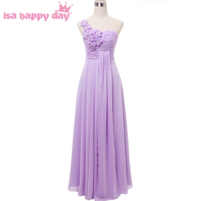 2019 sexy longue une épaule formelle élégant violet clair grande taille équipée occasion spéciale bal de promo robes pour les femmes H2742