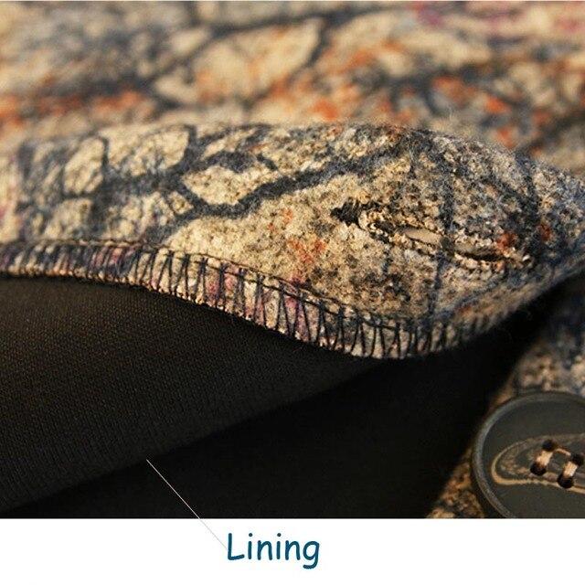 Women Vintage Woolen Print Trench Coat 4