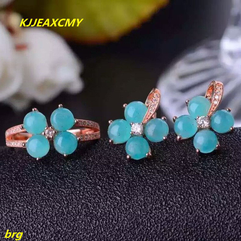 KJJEAXCMY Fine jewelry, 925 sterling silver Inlaid natural Milky Way stone ring earrings set authentic Xinjiang material live mo