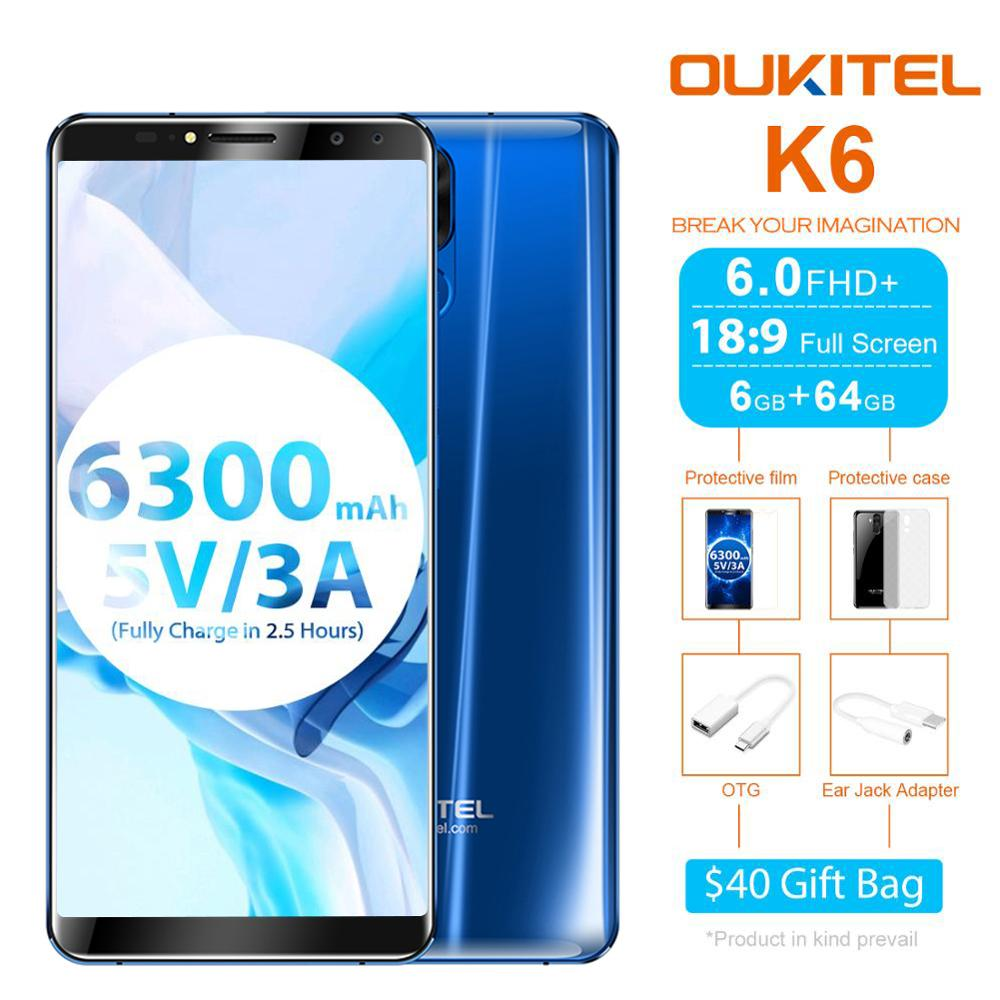 Oukitel K6 6300mAh Battery 5V3A Fast Charge6.0'' 18:9 Face ID 6GB 64GB MT6763 Octa Core Smartphone 4G Fingerprint 21MP+13MP 4Cam